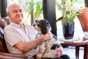 Banjo the pet dog visiting an aged care resident in a Homestyle Aged Care Facility