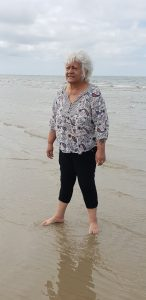 Tia re-connecting with the Sea on our beach trip from Green Gables - Homestyle Aged Care
