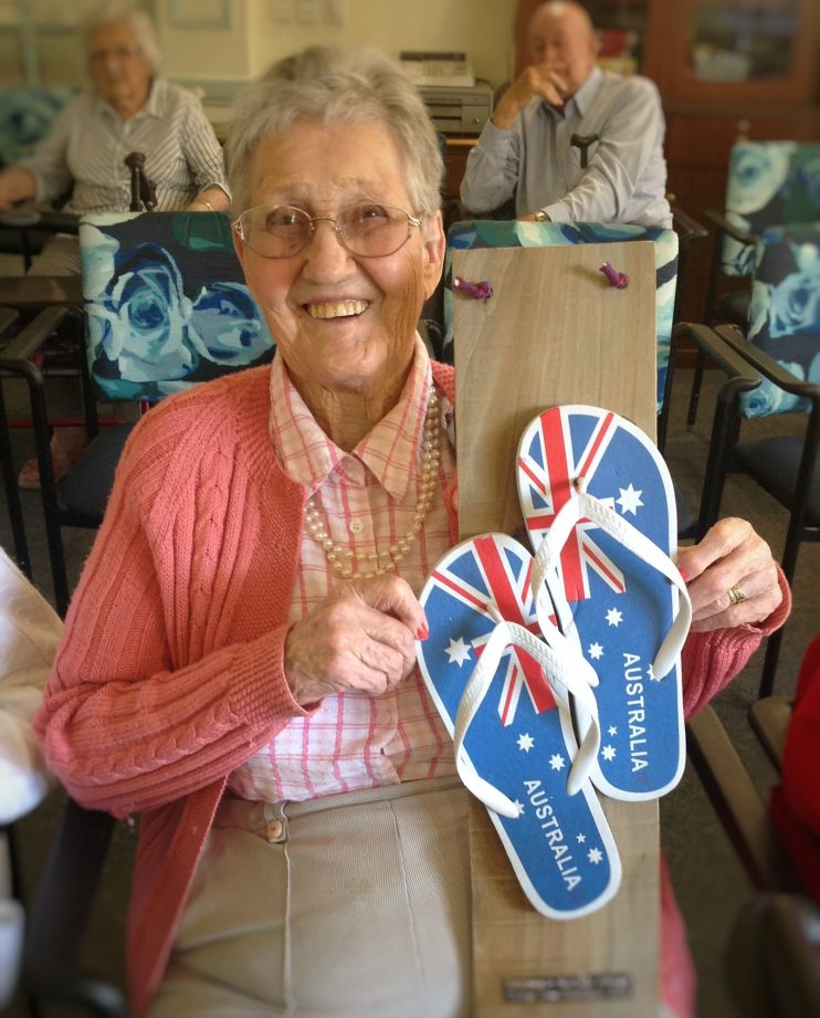 Australia Day thong tossing winner Mavis at Belmont Grange