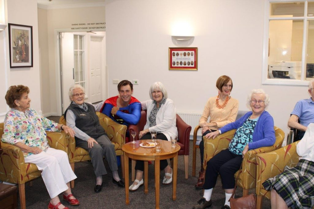 Superman chatting to residents'
